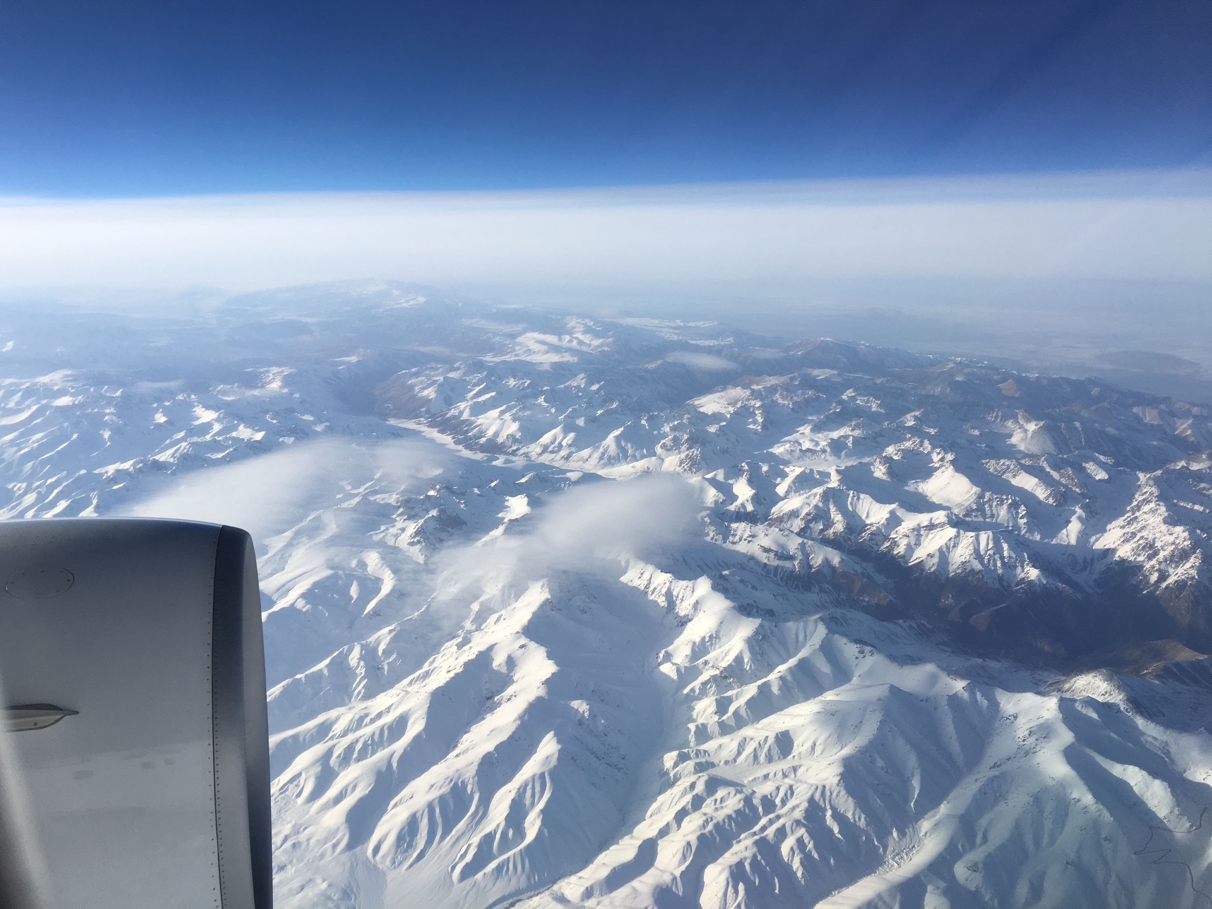 Air Astana over the Tien Shan Mountains.
