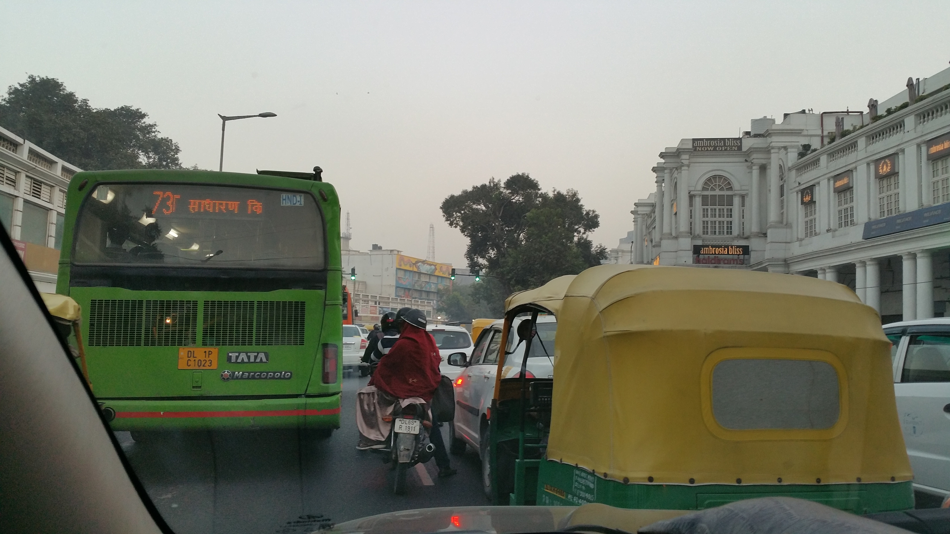 Heavy traffic in New Dehli, India.