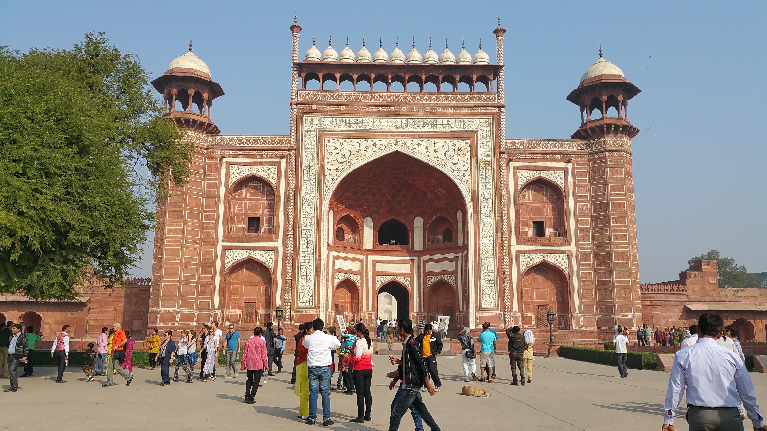 Entrance of the Taj Mahal, Agra, India.