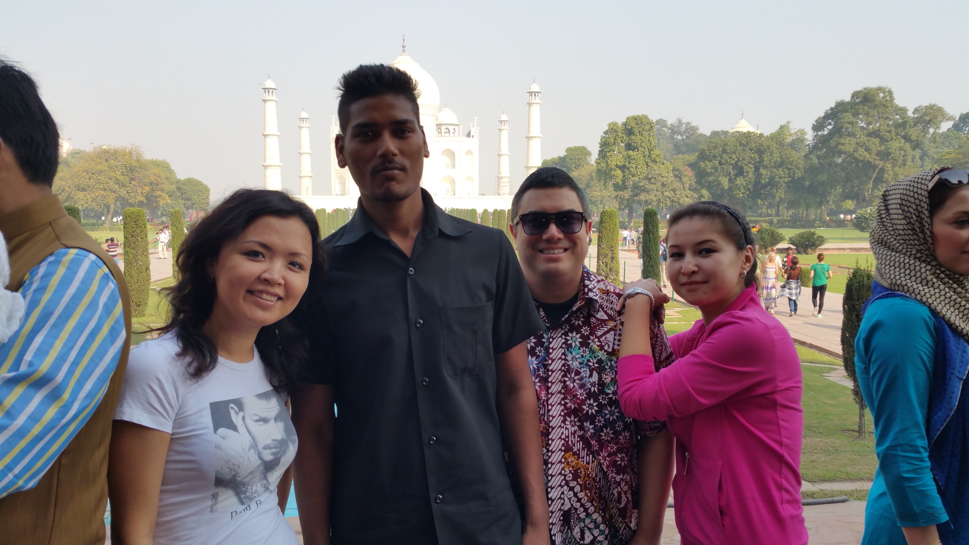 Zarina, our driver, Kevin and Aida at the Taj Mahal, Agra, India.