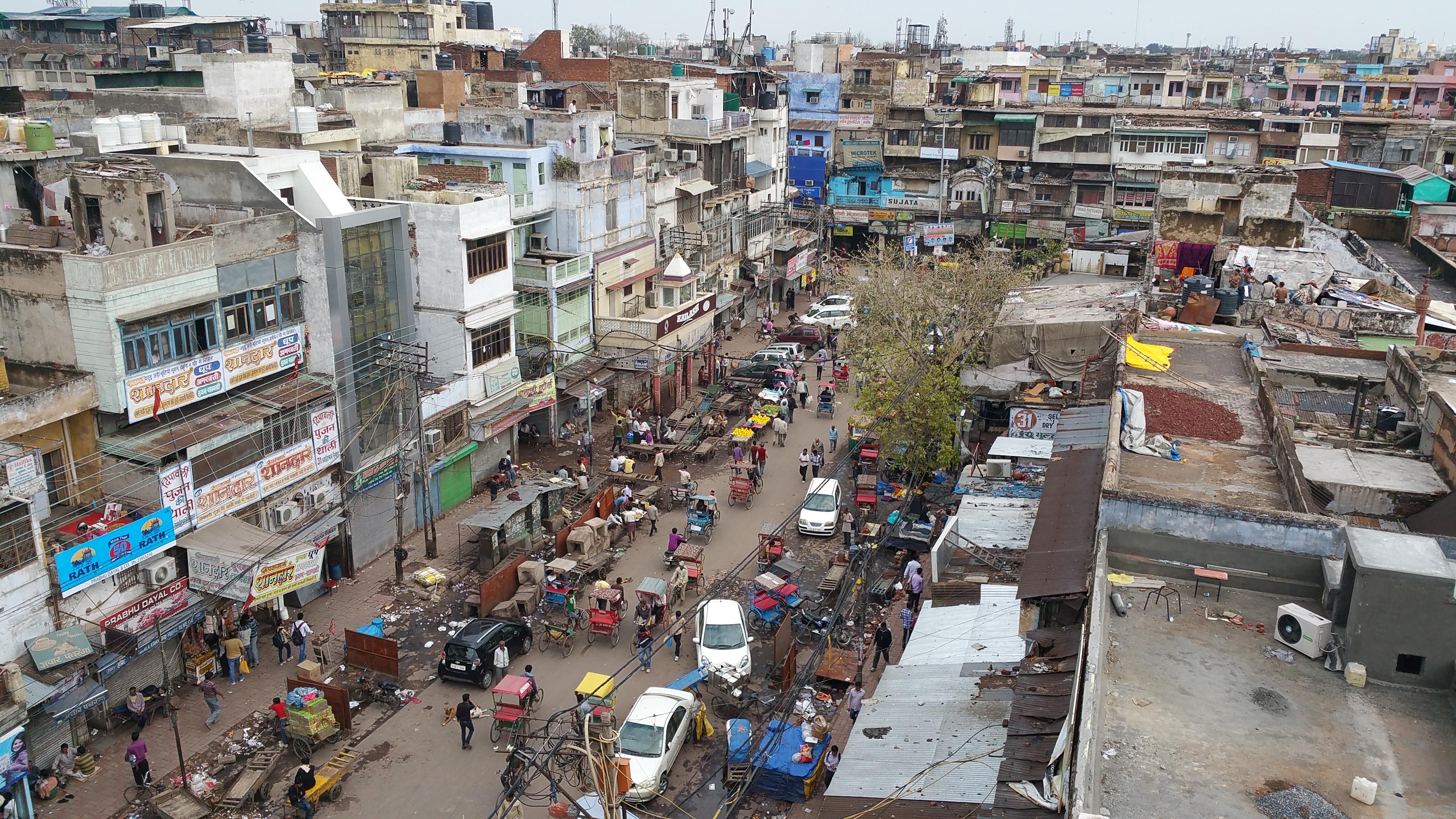 Crowed city in New Dehli, India.