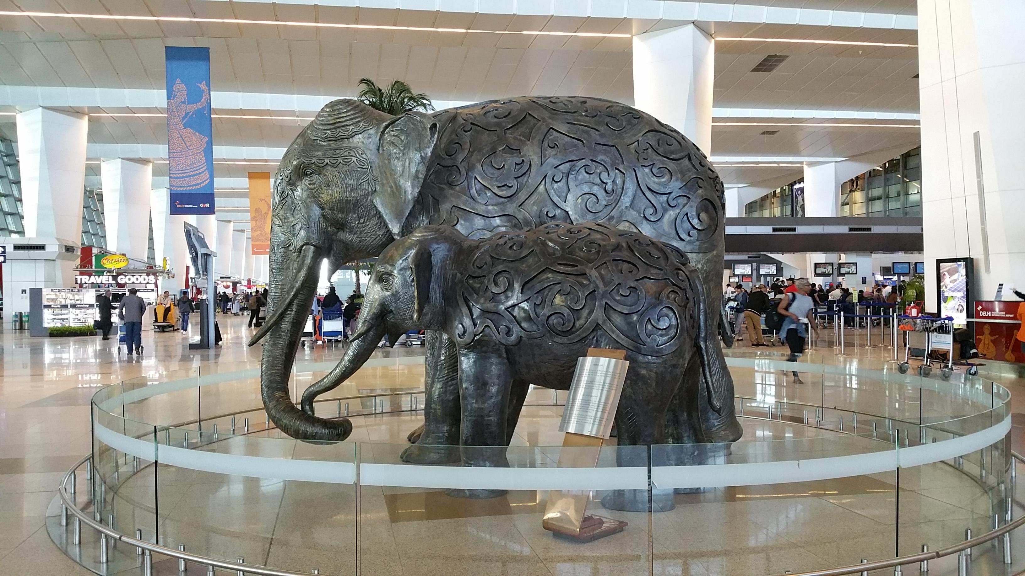 Elephant statue at the New Dehli International Airport, New Dehli, India.