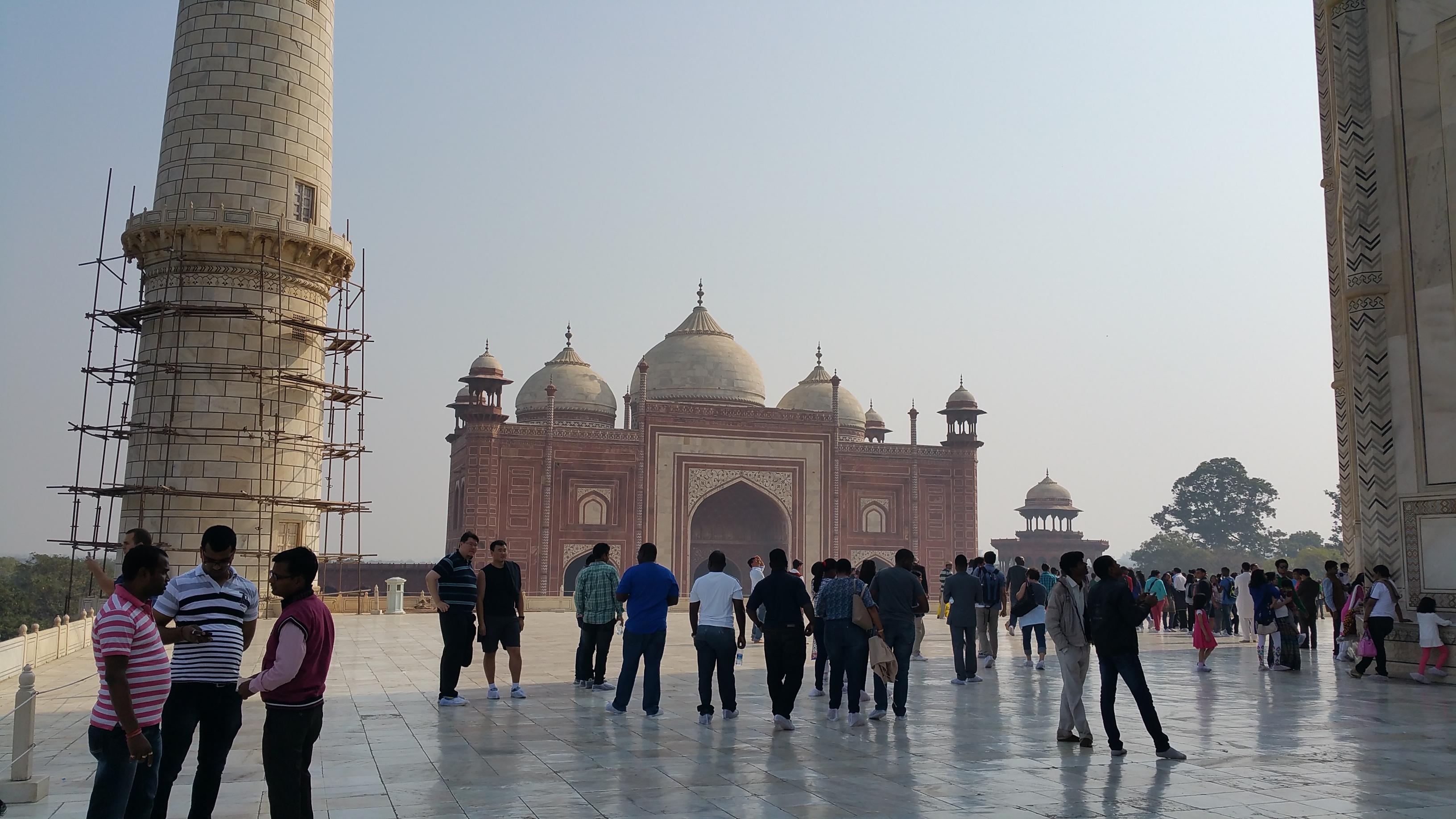 Walking towards the Yamuna River at the Taj Mahal, Agra, India.