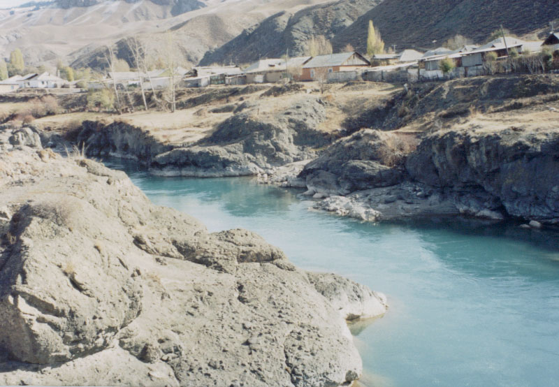 Naryn River, Naryn, Kyrgyzstan.