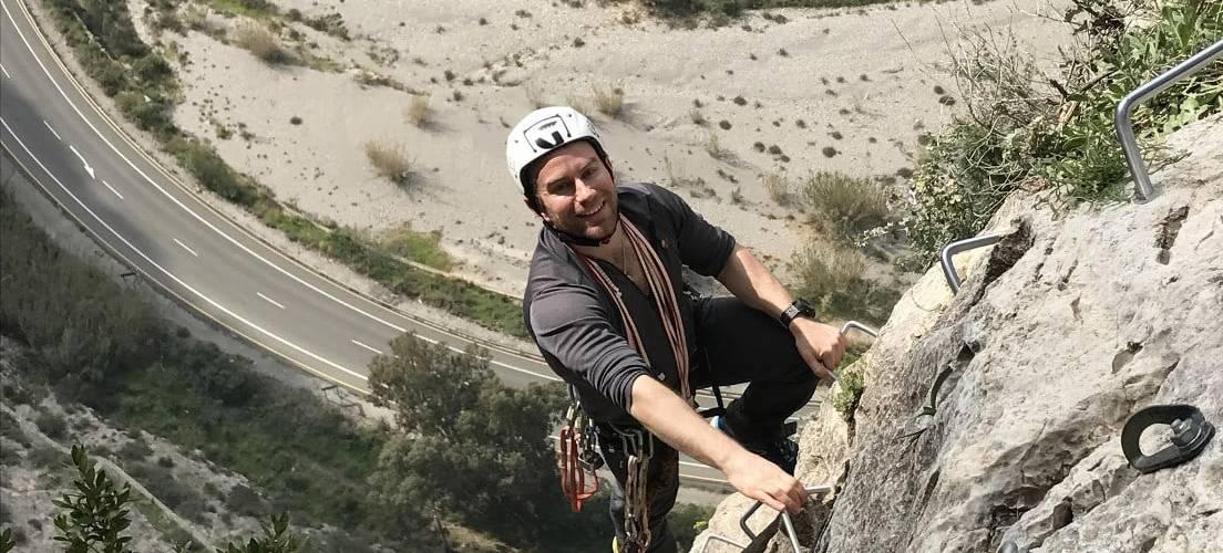 Up high on Los Valdos Via Ferrata