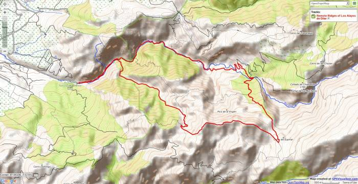 Map of a walk from Dilar on the Alayos de Dilar ridges