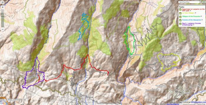 Map of the 5 days hiking areas