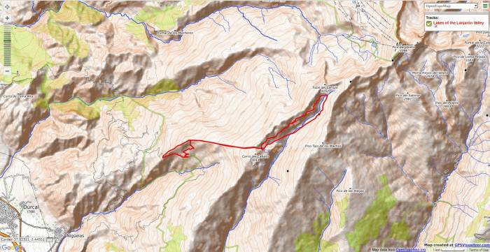 Map of the walkign hiking route in the Lanjaron valley