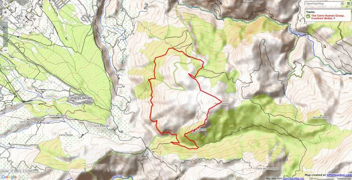 Map of a walk in the Cerro Huenes range near Granada
