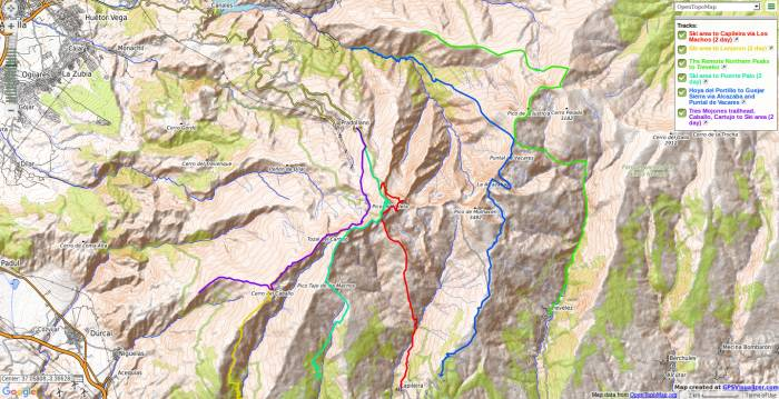 Map of Sierra Nevada crossing treks