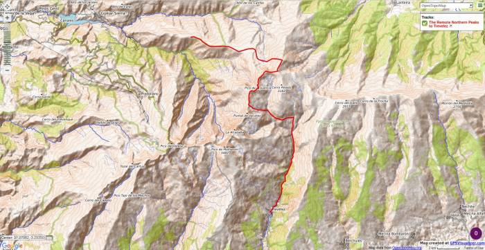 Map of route taken to cross the Sierra Nevada from Guejar Sierra to Trevelez