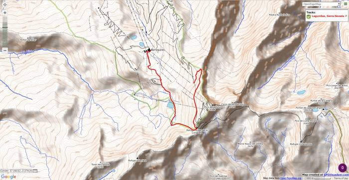 Map of easy summer walk in the Sierra Nevada