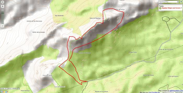 A map showing walking route Majalijar, Sierra de Huetor