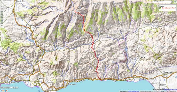 Map of sea to summit trekking route