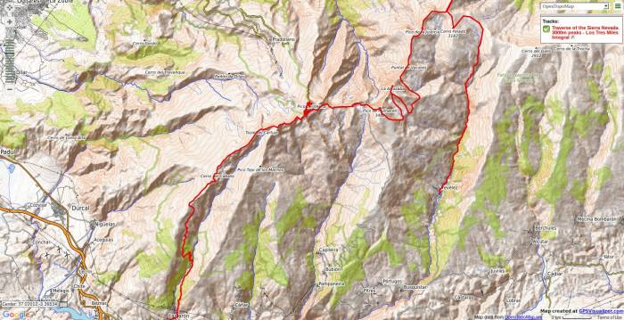 Map of Los Tres Miles Integral trek in Sierra Nevada