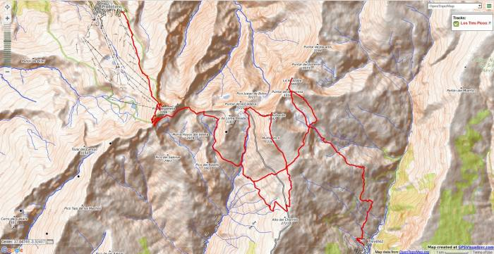 Map of Los Tres Picos trek in Sierra Nevada