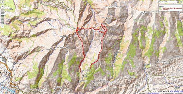 Map of Los Tres Picos wild camping trek in Sierra Nevada
