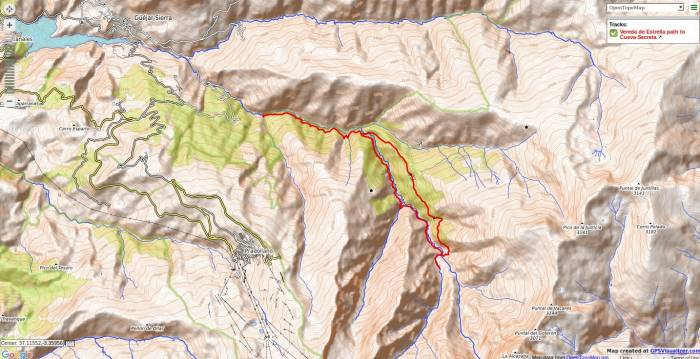 Map of walk along the Vereda de Estrella near Granada
