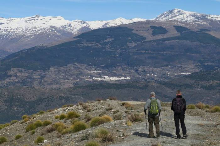 Walking across the Contraviesa, Mulhacen ahead
