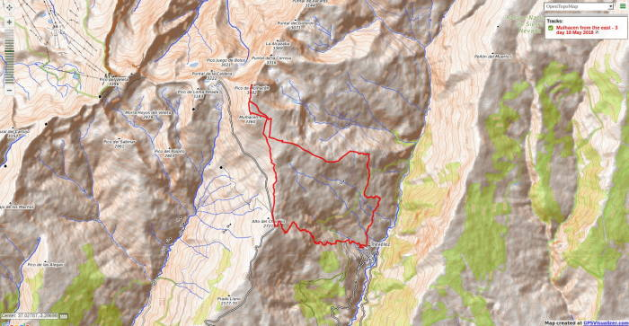 Map of Trevelez to Mulhacen route May 2018