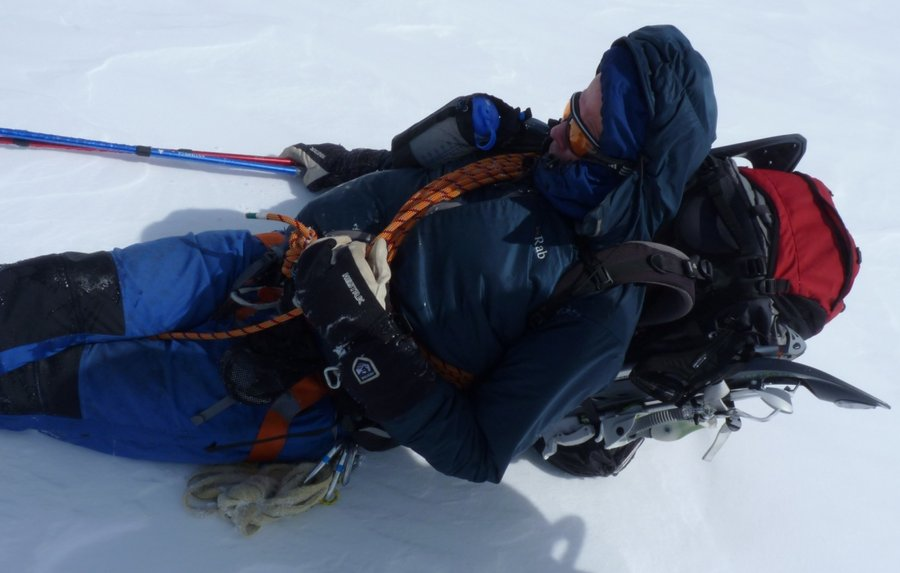 Exhausted on Paso Marconi, Patagonia