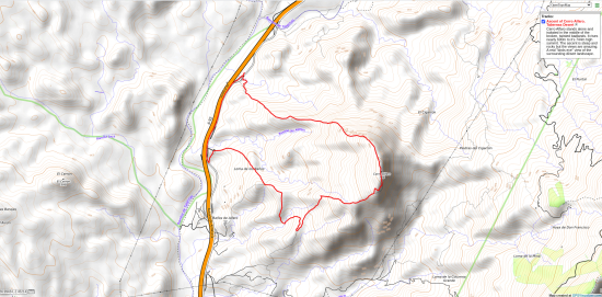 Map of ascent of Cerro Alfaro