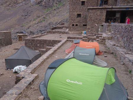 Camp set at the base of Toubkal