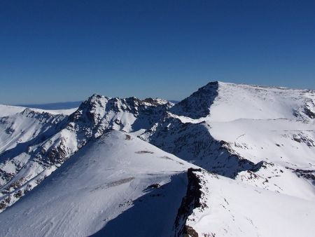 Looking west from the summit of VeletOcta towards Mulhacen