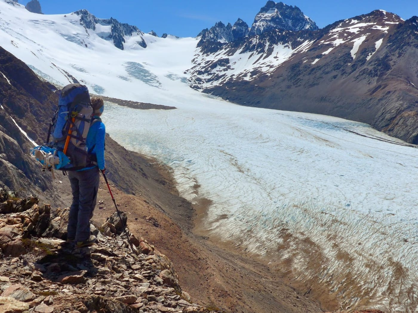Looking down on the Glacier Tunel from path to Paso del Viento