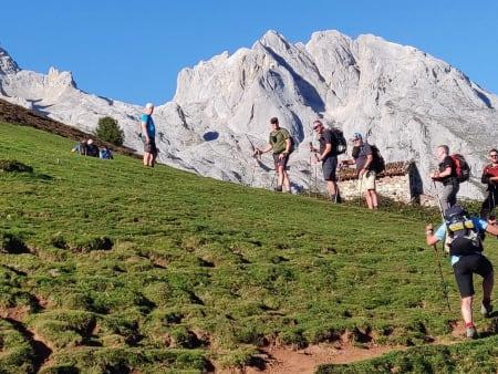 Alpine meadows and steep rock mountain walls