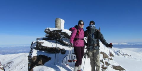 A spring ascent of the peak requiring snowshoes