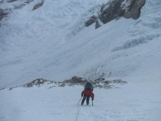 Kiersten Rowland climbing above the seracs on the Marconi Glacier