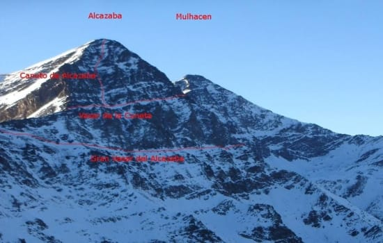 Walking and scrambling routes across the NW face of Alcazaba
