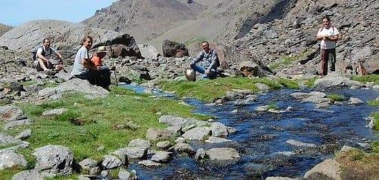 Water sources trekking in the high Sierra Nevada in summer