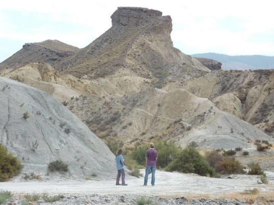 Walking in the desert badlands near Tabernas, Almeria
