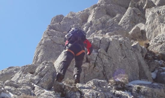 Climbing the west ridge of the Peñón de la Mata, Andalucía