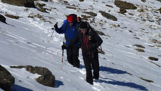 Snowshoeing along the Sulayr GR240 Long Distance Path