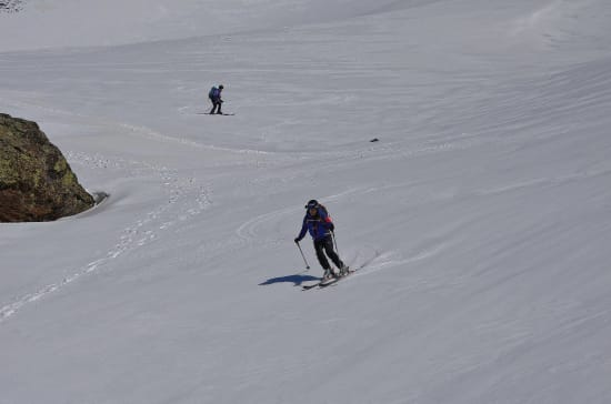 Wide open snow bowls for backcountry skiing