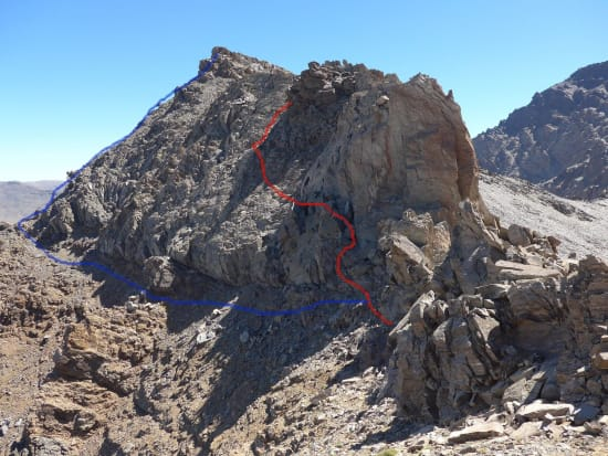 Red - ridge route bypass. Blue - traverse and upper Espolon