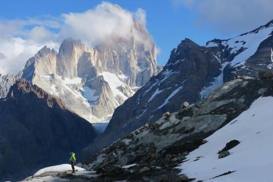 Mt Fitz Roy from camp Glacier Gorra Blanca Sur