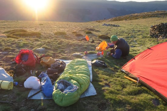 Chaotic campsite breakfast at sunrise in the Sierra Nevada