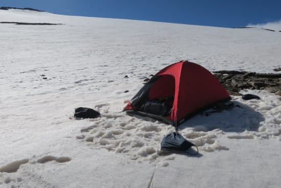 South of Mulhacen - Cruz Raid tent firmly anchored with gym bags!