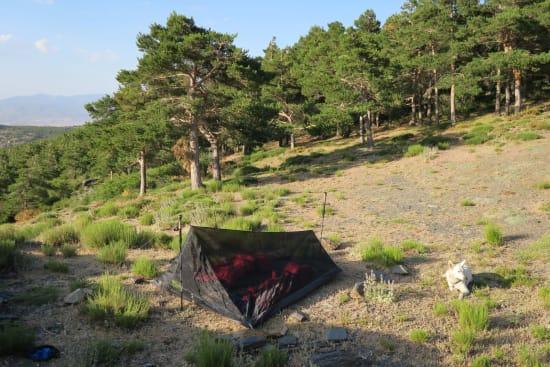 Day 2 - bug tent at Refugio Vivac el Toril