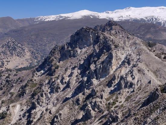 From the summit looking east towards Puntal de los Mecheros and the Sierra Nevada