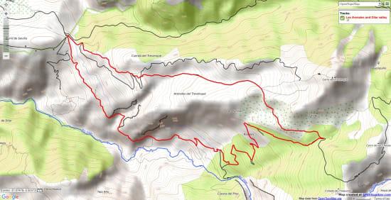 Map of a walk through arid desert badlands and lush green valleys