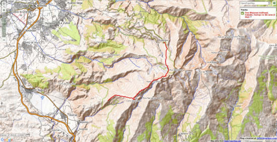 Map going north from Cerro de Caballo to the ski area