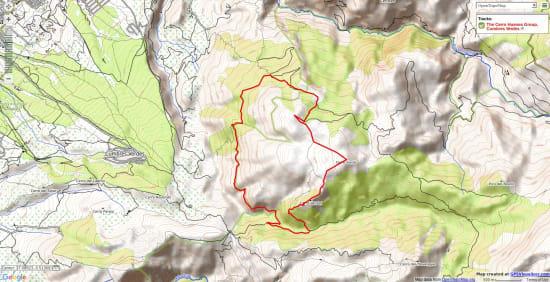 Map of a walk in the Cerro Huenes range near Granada