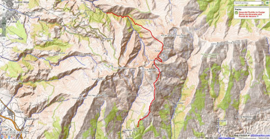 Map crossing the mountain range from the south to near Guejar Sierra