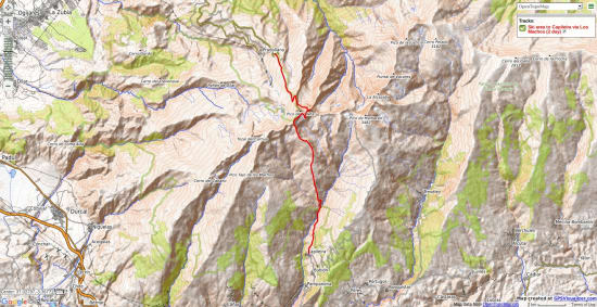 Map of how to cross the mountains to Capileira from the ski area