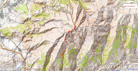 Map showing crossing from ski area to Puente Palo